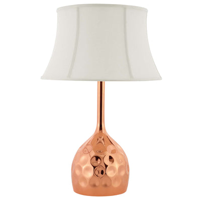 Modern Dimple Table Lamp Hammered Metal Bell Shade, Rose Gold - Wantism