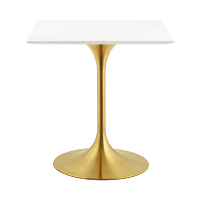 "Mid-Century Square 28"" Tulip Dining Table, White Gold - Wantism"