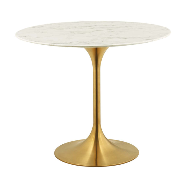 Wantism Tulip Gold Marble Dining Table - 36""