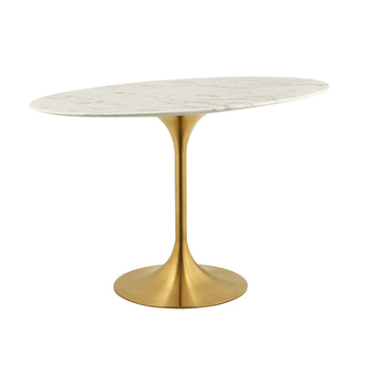 "Mid-Century Oval 48"" Tulip Dining Table Artificial Marble, Marble Gold - Wantism"