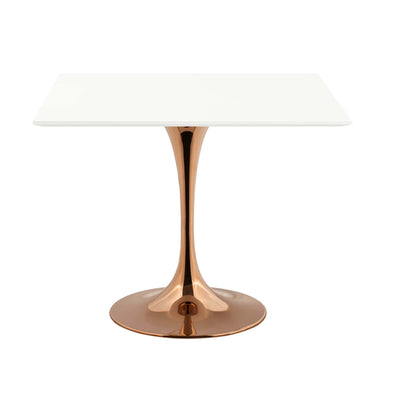 "Mid-Century Square 36"" Tulip Dining Table, White Rose Gold - Wantism"