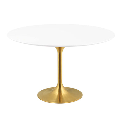 "Mid-Century Round 54"" Tulip Dining Table Wood Top, White Gold - Wantism"
