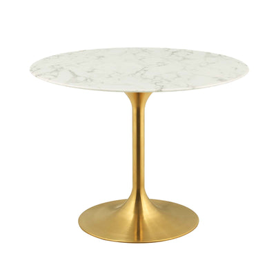"Mid-Century Round 40"" Tulip Dining Table Artificial Marble, Marble Gold - Wantism"
