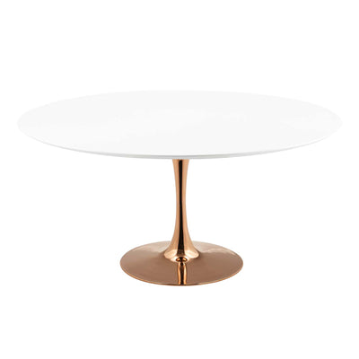 "Mid-Century Round 60"" Tulip Dining Table Wood Top, White Rose Gold - Wantism"