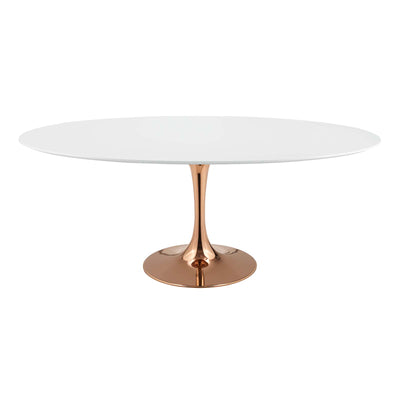 "Mid-Century Oval 78"" Tulip Dining Table Wood Top, White Rose Gold - Wantism"