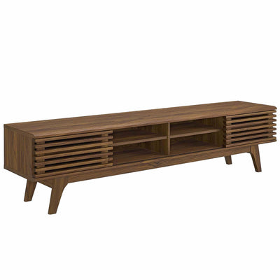 "Mid-Century Render 70"" Entertainment Center TV Stand Cabinet, Walnut - Wantism"