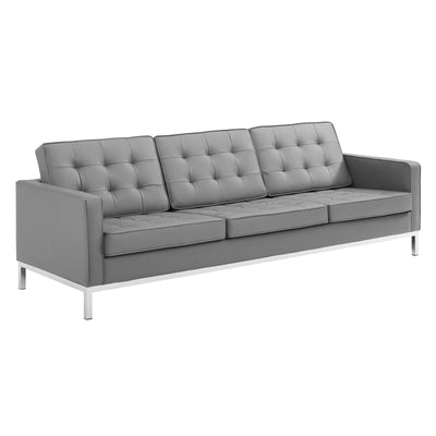 Mid-Century Modern Loft Sofa Tufted Faux Leather, Gray - Wantism