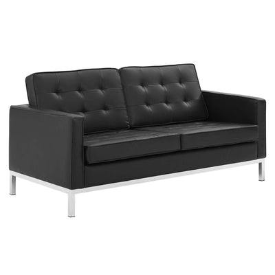 Mid-Century Modern Loft Loveseat Tufted Faux Leather, Black - Wantism