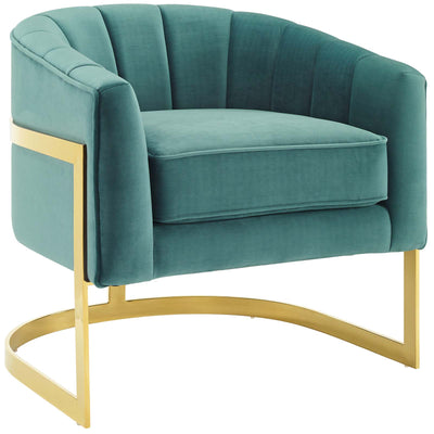 Modern Deco Esteem Accent Armchair Channel Tufted Velvet , Teal - Wantism