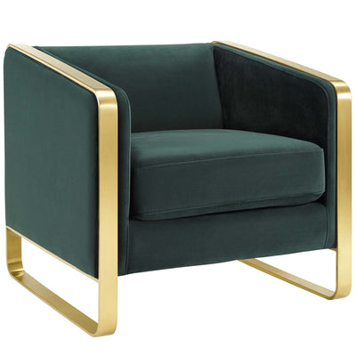 Glam Deco Visualize Club Armchair Performance Velvet , Dark Green - Wantism