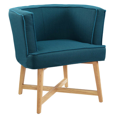 Modern Anders Accent Chair Fabric Upholstered Cross Base, Deep Teal - Wantism
