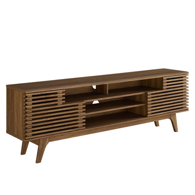 "Mid-Century Render 71"" TV Stand Entertainment Center Cabinet, Walnut - Wantism"