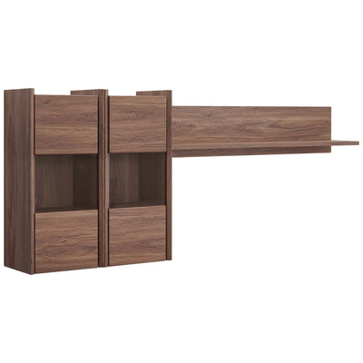 Mid-Century Visionary Wall Mounted Office Shelves, Walnut - Wantism