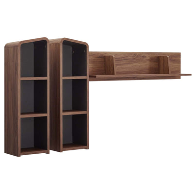 Mid-Century Omnistand Wall Mounted Office Shelves, Walnut - Wantism