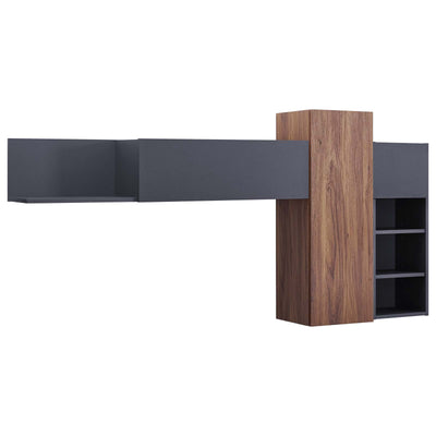 Mid-Century Scope Wall Mounted Office Shelves, Walnut - Wantism