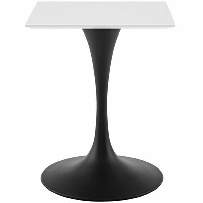 "Mid-Century Square 24"" Tulip Dining Table, White Black - Wantism"