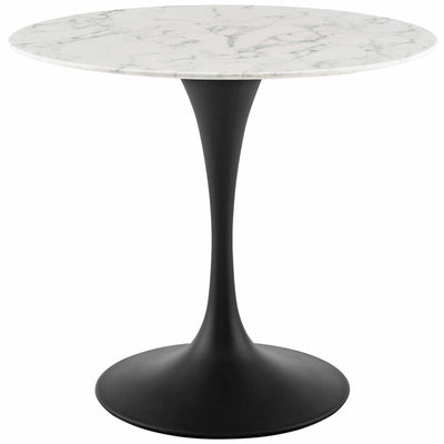 "Mid-Century Round 36"" Tulip Dining Table Artificial Marble, Marble Black - Wantism"