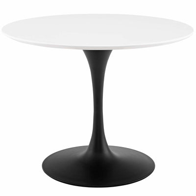 "Mid-Century Round 40"" Tulip Dining Table Wood Top, White Black - Wantism"