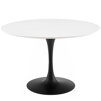 "Mid-Century Round 47"" Tulip Dining Table Wood Top, White Black - Wantism"