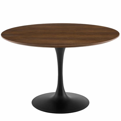 "Mid-Century Round 47"" Tulip Dining Table Wood Top, Walnut Black - Wantism"