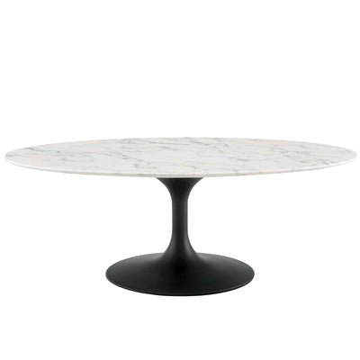 "Mid-Century Oval 48"" Tulip Coffee Table Artificial Marble, Marble Black - Wantism"