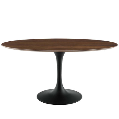"Mid-Century Oval 60"" Tulip Dining Table Wood Top, Walnut Black - Wantism"