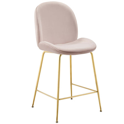Wantism Sabine Velvet Counter Stool Blush Pink