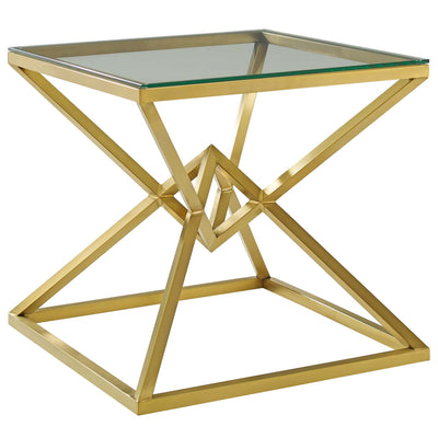 Modern Glam Point Side Accent Table Steel Glass, Gold - Wantism