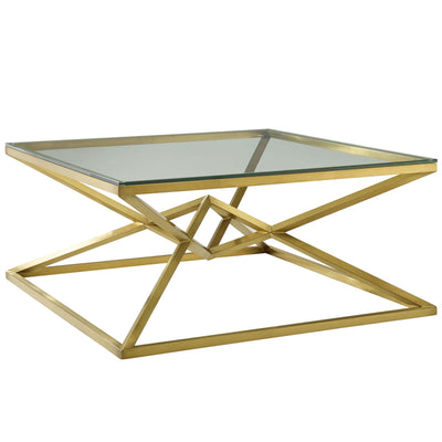Modern Glam Point Coffee Accent Table Steel Glass, Gold - Wantism