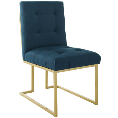 Glam Deco Privy Dining Chair Tufted Fabric Geometric Base, Deep Teal - Wantism