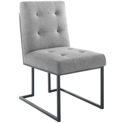 Glam Deco Privy Dining Chair Tufted Fabric Geometric Base, Gray - Wantism