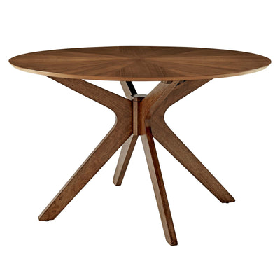 Mid-Century Modern Crossroads Round Wood Dining Table, Walnut - Wantism