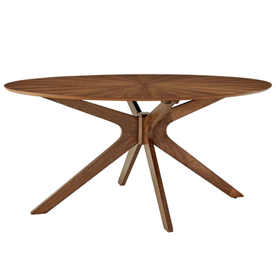 Mid-Century Modern Crossroads Oval Wood Dining Table, Walnut - Wantism