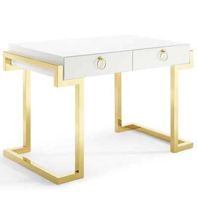 Modern Ring Office Writing Desk Steel Base, Gold White - Wantism