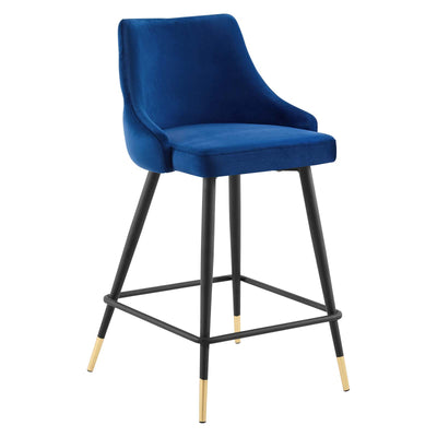 Modern Deco Adorn Counter Stool Tufted Velvet, Navy - Wantism