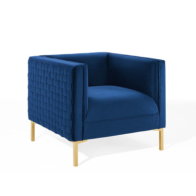 Modern Resonate Velvet Armchair Lounge Accent Chair, Navy - Wantism