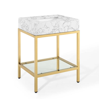 "Modern Kingsley 26"" Bathroom Vanity Artificial Marble , Gold - Wantism"