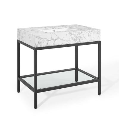 "Modern Kingsley 36"" Bathroom Vanity Artificial Marble , Black - Wantism"