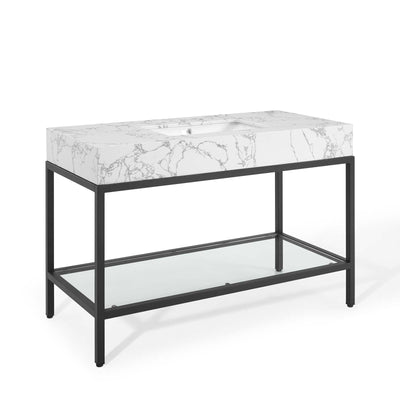 "Modern Kingsley 50"" Bathroom Vanity Artificial Marble , Black - Wantism"