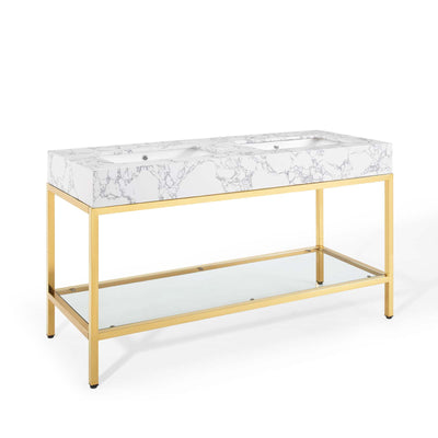 "Modern Kingsley 60"" Bathroom Vanity Artificial Marble , Gold - Wantism"
