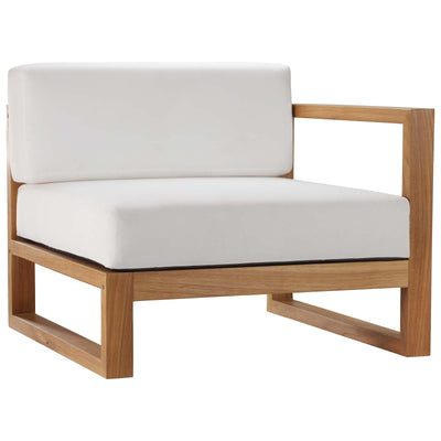 Sectional Upland Outdoor Right-Arm Chair Teak Wood , White - Wantism