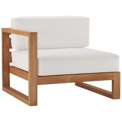 Sectional Upland Outdoor Left-Arm Chair Teak Wood , White - Wantism
