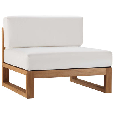 Sectional Upland Outdoor Armless Chair Teak Wood , White - Wantism