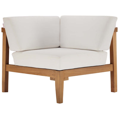 Sectional Bayport Outdoor Patio Corner Chair Teak Wood , White - Wantism