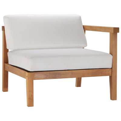 Sectional Bayport Outdoor Patio Right-Arm Chair Teak Wood , White - Wantism