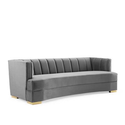 Modern Deco Encompass Curved Sofa Channel Tufted Velvet, Gray - Wantism