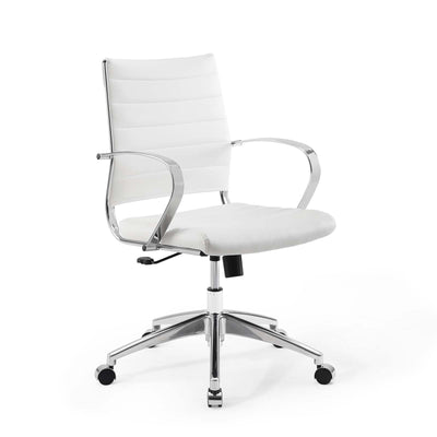 Modern Jive Mid Back Office Chair Swivel Base, White - Wantism