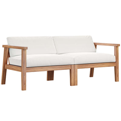 Sectional Bayport Outdoor Patio Loveseat Teak Wood , White - Wantism