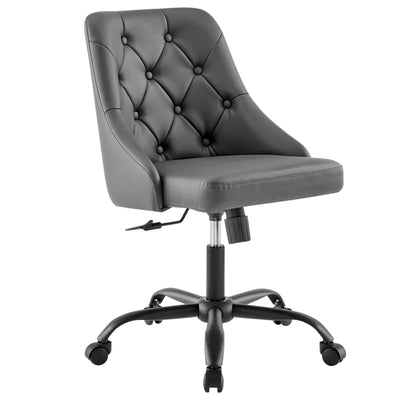 Modern Distinct Swivel Office Chair Vegan Leather, Gray - Wantism