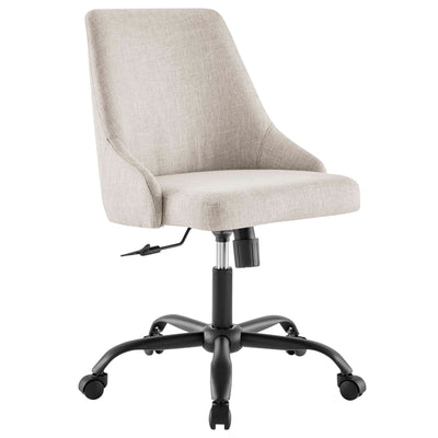 Modern Designate Upholstered Swivel Office Chair, Beige - Wantism